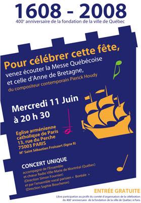 Affiche Pierick Houdy messe québécoise